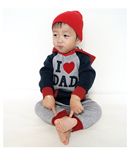 Vaenait Baby 6-24M Infant Boys Fleece Hoodie Jumpsuit Romper Hooded Dad
