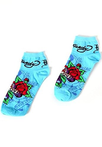 Ed Hardy Women's True Love Fancy Sport Socks (Ice Blue, OS) (One Size, Ice Blue) (Womens Hardy Panty Ed)