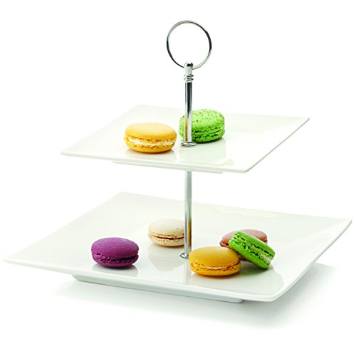 2 Tier Serving Stand (White Basics Collection, Cosmopolitan 2-Tier Cake Stand, White)