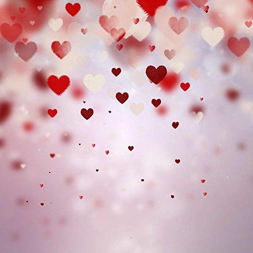 5x7ft Vinyl Red Heart Love Valentine Photography Studio Backdrop Prop Background ()