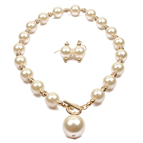 Zthread Simple Stimulated Pearl Beads Rib Statement Stand Collar Necklace Earring Women Fashion Jewerly (Off-white) (Womens Ivory Necklace)