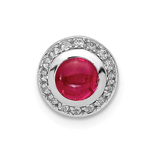 (14k White Gold Diamond With Cabochon .65 Ruby Halo Chain Slide Pendant from Roy Rose Jewelry)
