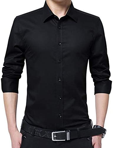Solid Colored Shirt Collar IYFBXl Mens Work Plus Size Cotton Slim Shirt