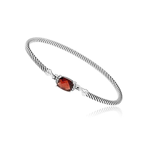 (David Yurman Petite Wheaton Garnet & Diamonds Bracelet B11194DSSAGADI)