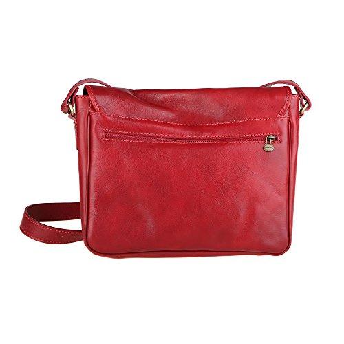 Chicca Borse Unisex Maletín Organizador Bolso de hombro en cuero genuino Made in Italy 32x28x8 Cm Rojo