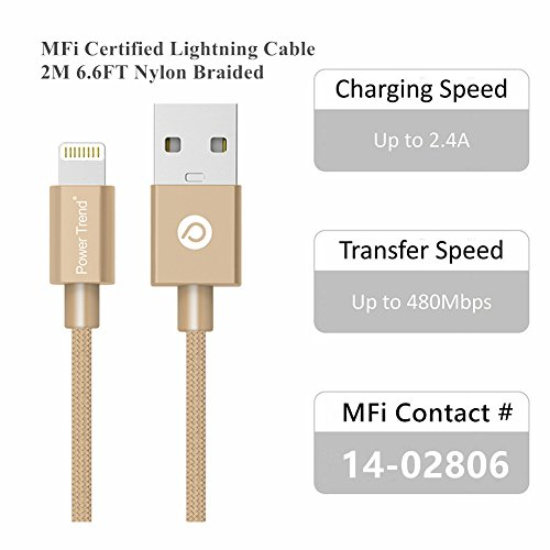 Power Trend MFI Certified 2M 6.6FT Nylon Braided USB to Lightning Cable Data Charging Cord for iPhone 5 / 5C / 5S / SE / 6 / 6S / 7 / 7 Plus / iPad / iPod Nano 7 (Luxury Gold) by Power Trend (Image #3)