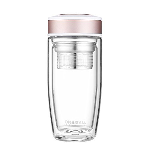 ONEISALL GYBL015 380ML Glass Drinking Water Bottle, Ultra Clear Spill-proof Strong Double-wall Borosilicate Glass Tea Tumbler with Strainer - Tea Champagne