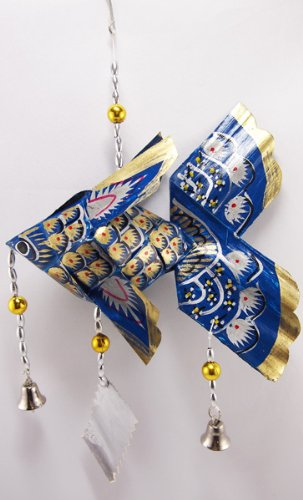 Thai Handmade Carp Mobile Origami Home Deco Baby Kid Toy Doll Gift Souvenir - Small - Navy Blue by SukSomboonShop