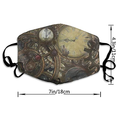 NOT Steampunk Clocks PM2.5 Mask, Adjustable Warm Face Mask Unique Cover Filters Blocking Pollen Pollution Germs£¬Can Be Washed Reusable Pollen Masks Cotton Mouth Mask for Men Women