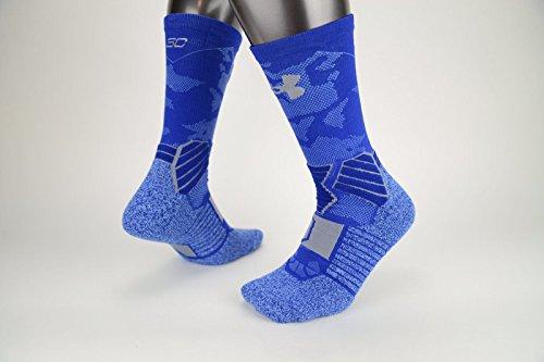 Under Armour Mens SC30 Drive Crew Socks (Adult LG, Blue/Grey)