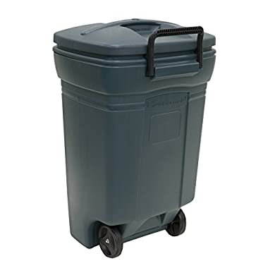 Rubbermaid RM134501 Forty Five Gallon Rectangular Evergreen Wheeled Trash Can-45 Gallon/170.3L Refuse Container with Handle and Wheels In Evergreen Color