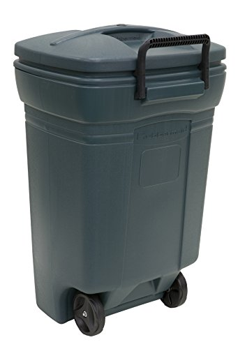 Rubbermaid RM134501 Forty Five Gallon Rectangular Evergreen Wheeled Trash Can-45 Gallon/170.3L Refuse Container