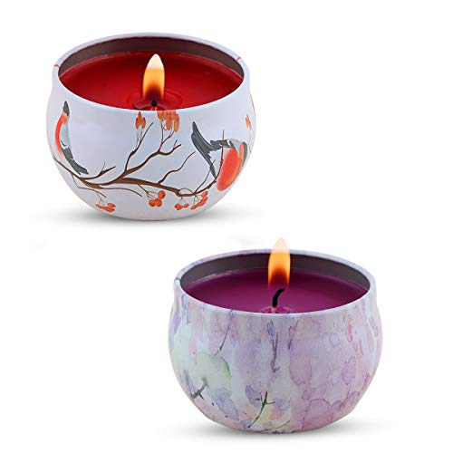 KitchenGynti Scented Candles, Lavender, Rose Candles with Soy Wax Candle for Stress Relief and Aromatherapy, Candles - 2 Pack
