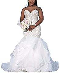 Womens Sweetheart Beaded Mermaid Wedding Dresses for Bride 2019 Pleats Bridal Gowns Plus Size