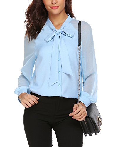 Femme Bleu Clair Blouse Ud Papillon Top Longue Bleu Chemise N Noir en avec Mousseline Blanche Chemisier SxraSR