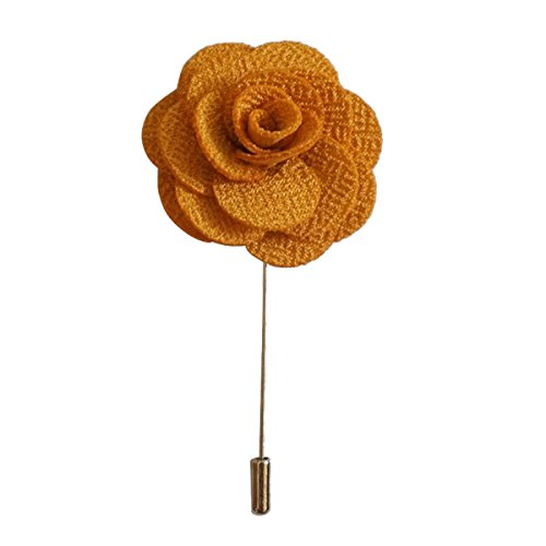 Sunny Home Men's Lapel Flower Stick Brooch Pin Boutonniere Pin for Suit Tuxedo Corsage (Yellow)