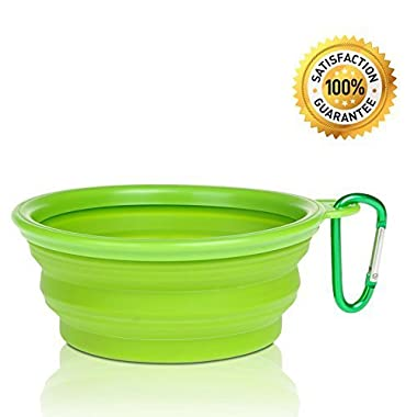 Nom Nom Puppy Collapsible, Eco-friendly, Portable Travel Pet Water Bowl (12 Oz) with Free Bonus Carabiner Belt Clip - Lightweight, Convenient, Travel Cup, Durable, Pop-up, Silicone Dog Bowl - Pet Safe - 100% Satisfaction Guaranteed (Green)