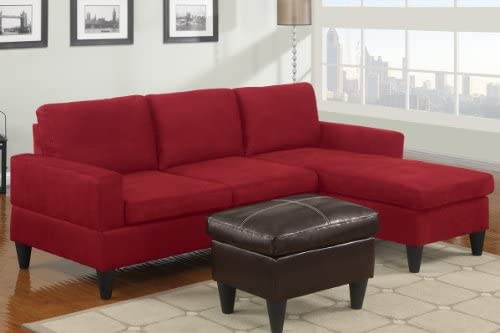Amazon.com: 3 pc Red microfiber apartment size sectional ...