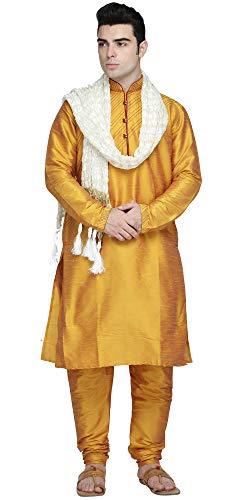 SKAVIJ Men's Art Silk Kurta Pajama and Stole Set (Medium, Gold)