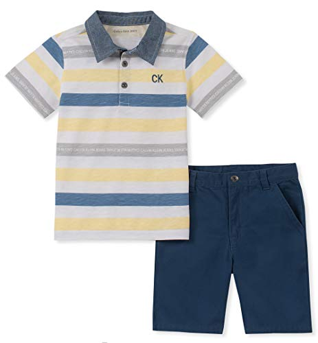 Sets Pack Boys 5 Piece - Calvin Klein Boys' Little 2 Pieces Polo Shorts Set, Navy/White, 5