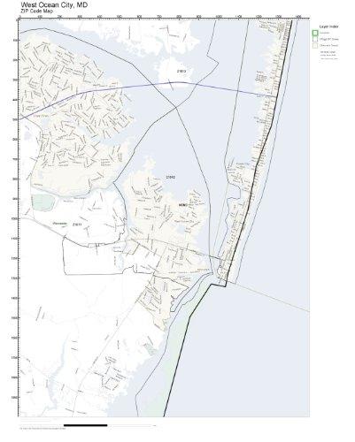 Amazon Com Zip Code Wall Map Of West Ocean City Md Zip Code Map