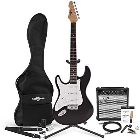 Guitarra Electrica LA Zurda + Pack Completo - Negro: Amazon.es ...