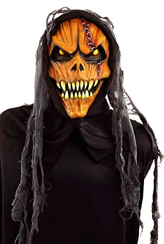 Scary Halloween Pumkins (Forum Novelties Men's Hooded Pumpkin Monster Mask, Multi, One)