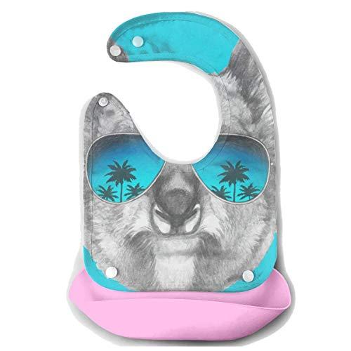 Koala Wear Sunglasses Baby Bibs Silicone Drool Bibs for Girls Drooling Bib/Smock With Food Catcher ()