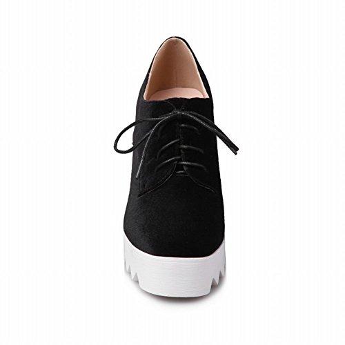 Latasa Womens Lace-up Platform Oxford Wedges Shoes Black acLrg