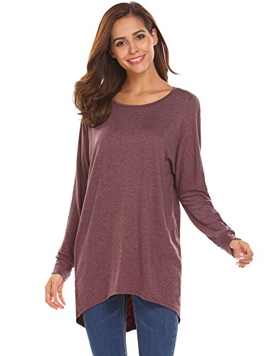 Easther Women's Sexy Long Batwing Sleeve Loose Pullover Casual Top Blouse T-Shirt(Wine Red,Large)