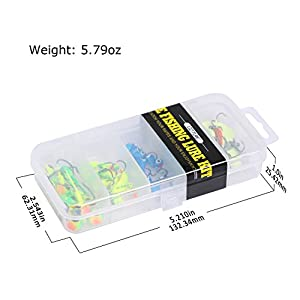 Goture Micro Fishing Jigs Freshwater Stream Small River Fishing Crappie Bluegill Trout Micro Fishing Jigs 3.2g 5.3g Mini Jig Spoon 5 Types With Tackle Box 40 Pieces For Walleye Winter Fishing Lures Ic