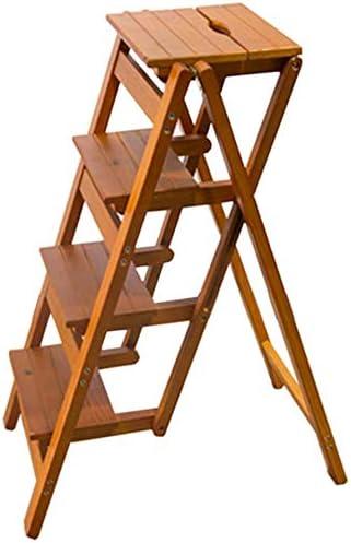 STOOL Escalera de mano Taburetes de casa, escalera de madera Escalera de madera Escalera Estantería Escalera de mano Pedal de 4 capas Ampliado Multifunción Seguridad Portátil Estante de flores Hogar: Amazon.es: Bricolaje