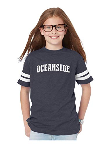 Mom`s Favorite Oceanside California Beach City Traveler Gift Youth Unisex Football Fine Jersey Tee (YMNB) Navy -