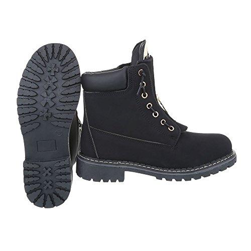 Ital-Design Schnürstiefeletten Damenschuhe Schnürstiefeletten Blockabsatz Schnürer Reißverschluss Stiefeletten Schwarz BB2025-KB