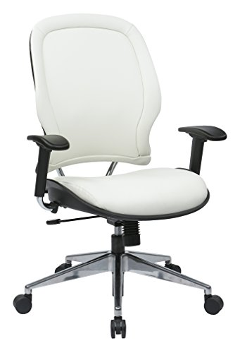 SPACE Seating Vinyl Managers Chair with Chrome Finish Metal Base and Height Adjustable Arms, White - Wheel Soft Office Star