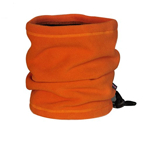 OuterStar Double-Layer Polar Fleece Neck Warmers Snood Scarf Hat Unisex Thermal Ski Wear Mask Beanie (Orange)