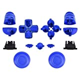 ModFreakz™ Thumbsticks Dpad R1L1 R2L2 Share Option Home Buttons Chrome Blue For PS4 Gen 3 V1 Controller