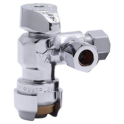 - SharkBite 25558LFA Dual Compression Outlet Angle Stop Valve, 1/2 inch x 3/8 inch x 3/8 inch Plumbing Fitting, Quarter Turn, Water Valve Shut Off, Push-to-Connect, PEX, Copper, CPVC, PE-RT (3)