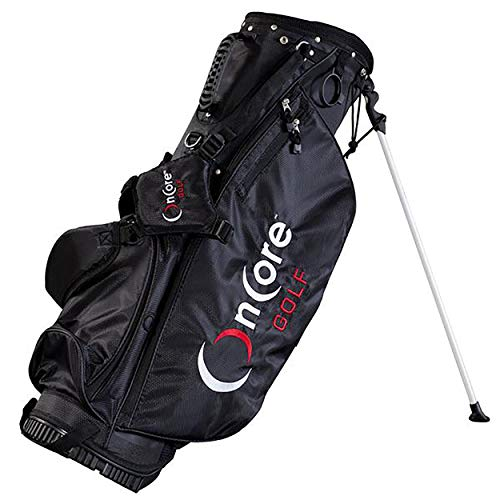 ONCORE GOLF Bags | Stand Golf Bag | Padded Carrying Strap | Full-Length Club Dividers | Lightweight & Durable Design | Umbrella Holder & Removable Rain Hood | Black Golf Bag ()