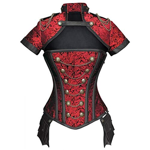 ZHAO ZHANQIANG Steampunk Court Corset Warrior Suit Women's Waist Corset Tight Body with a Gothic Steel Bone Corset Corset (Color : Red, Size : L) -