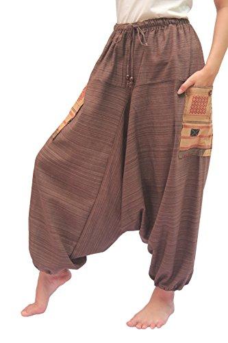 Wynnthaishop 100% Cotton Baggy Boho Aladin Yoga Harem Pants (L-XXL for Waist for 34