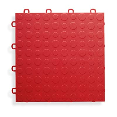 BlockTile B0US4330 Garage Flooring Interlocking Tiles Coin Top Pack, Red, 30-Pack