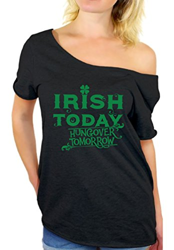 Awkward Styles Women's Irish Today Hungover Tomorrow St.Paddy's Day Graphic Off Shoulder Tops T Shirt Black S