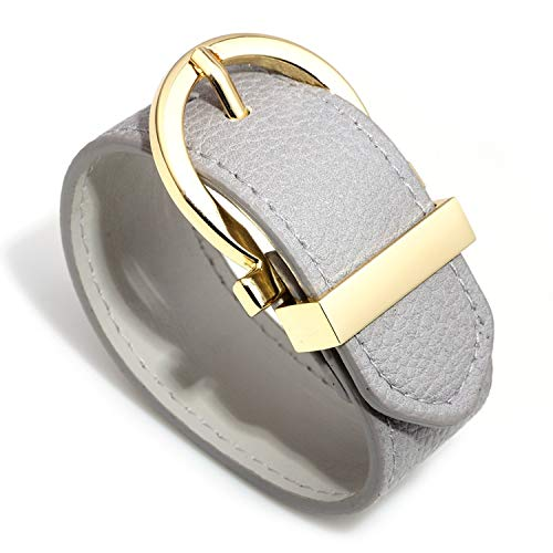 (Designer Inspired Wide Cuff Leather Round Belt Buckle Wrap Bracelet Unisex 25cm 10 inch Length (Grey) )