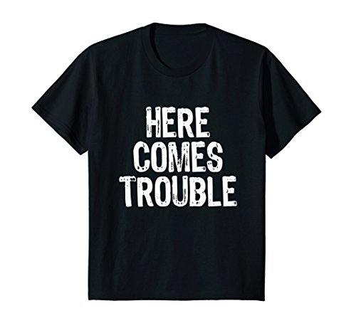 Kids Here Comes Trouble T-Shirt 8 Black