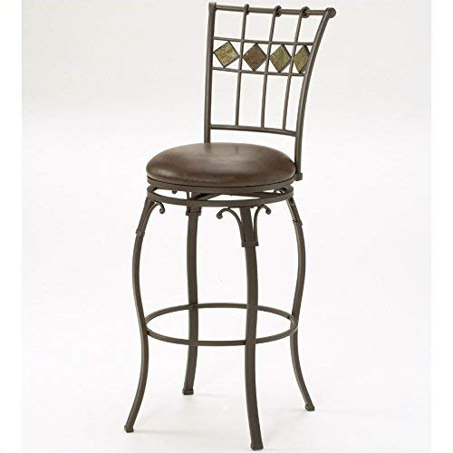Hillsdale Lakeview Swivel Counter Height Stool 24-Inch with Slate Accents, Brown