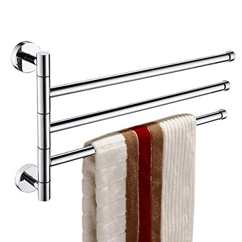 (ThinkTop Luxury Bathroom Brass Rotate Three Swing Arms Towel Bar Rail Rack Holder Wall Mounted Swivel Holder Chrome Polishing Bathroom Accessories)