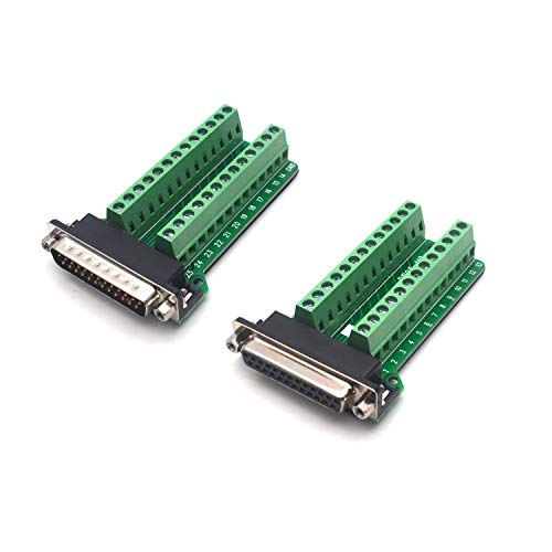 Antrader DB25 D-SUB 25-pin Male/Female Adapter RS232 to Terminal Board Signal Module, 1pcs Male Adapter, 1pcs Female Adapter