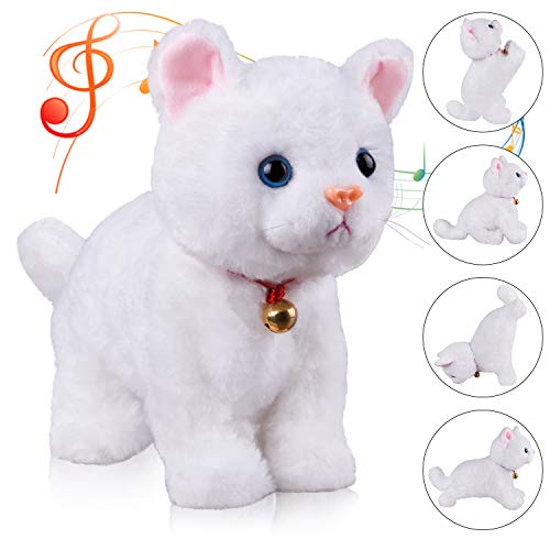 White Plush Cat Stuffed Animal Interactive Cat Robot Toy, Barking Meow Kitten Touch Control, Electronic Cat Pet, Cat Kitty Toy, Animated Toy Cats for Girls Baby Kids L:12