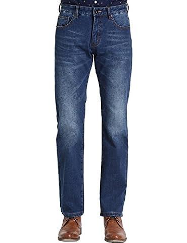 SSLR Men's Straight Fit Flannel Lined Denim Jeans (32, Blue (Heavyweight Jeans)